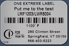 high temperature labels